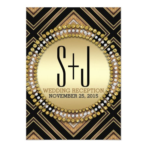 Art Deco Style Black Gold Wedding Reception Invite