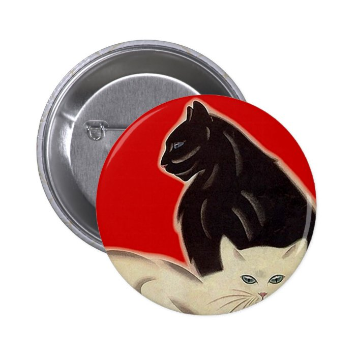 Art Deco Style Black & White Cats On Red Button