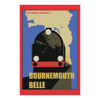 Art Deco Style Bournemouth Belle train ad Poster