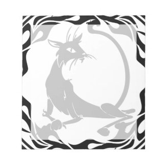 Art Deco Style Cat in Black and White Notepad