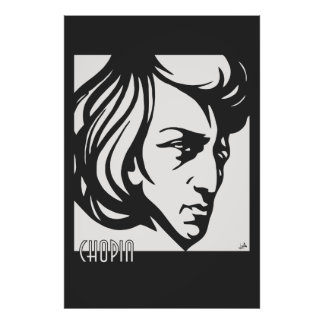 Art Deco style Chopin fits all sizes Poster