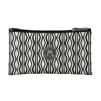Art Deco Style Cream Black Geometric Pattern Makeup Bag