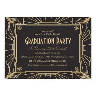 "Art Deco Style Graduation Party Invitation 5"" X 7"" Invitation Card"