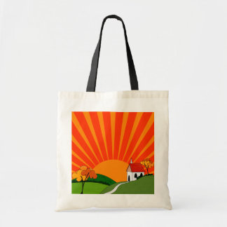 Art Deco Style Landscape with Church Canvas Bags