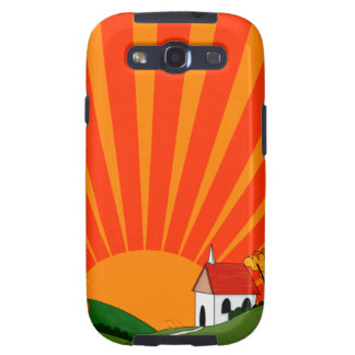 Art Deco Style Landscape with Church Galaxy SIII Covers