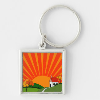 Art Deco Style Landscape with Church Keychain