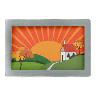 Art Deco Style Landscape with Church Rectangular Belt Buckle