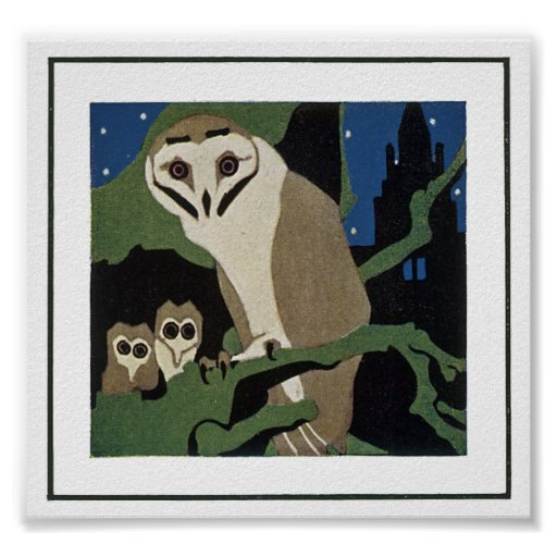 Art Deco Style Owl and Owlets Print