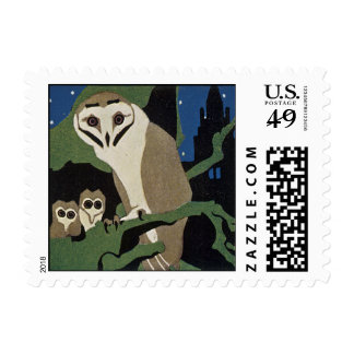 Art Deco Style Owl and Owlets Stamp
