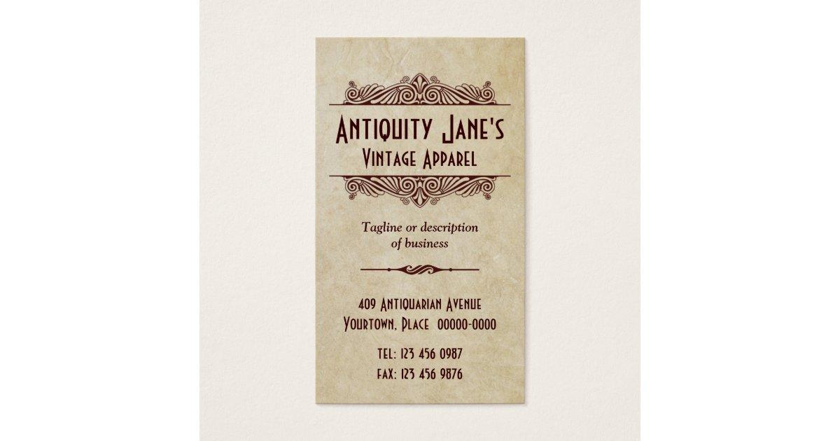 Art Deco Style Parchment Business Card | Zazzle.com