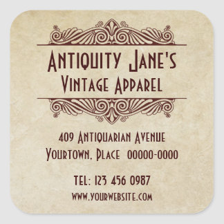 Art Deco Style Parchment Promotional Stickers