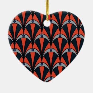 Art deco style pattern ceramic heart ceramic ornament