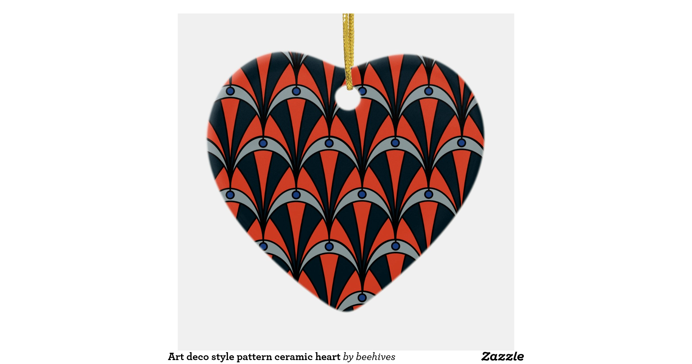 Art Deco Style Pattern Ceramic Heart Double Sided Heart