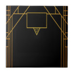 "Art deco style pattern in classic black and gold ceramic tile<br><div class=""desc"">Art deco style pattern in classic geometric black and faux gold decor.</div>"