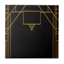 Art deco style pattern in classic black and gold ceramic tile