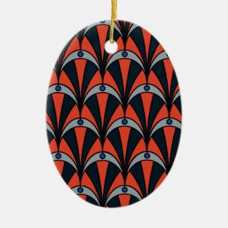 Art deco style pattern ceramic oval decoration