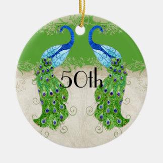 Art Deco Style Peacock Apple Green Vintage Lace Ceramic Ornament