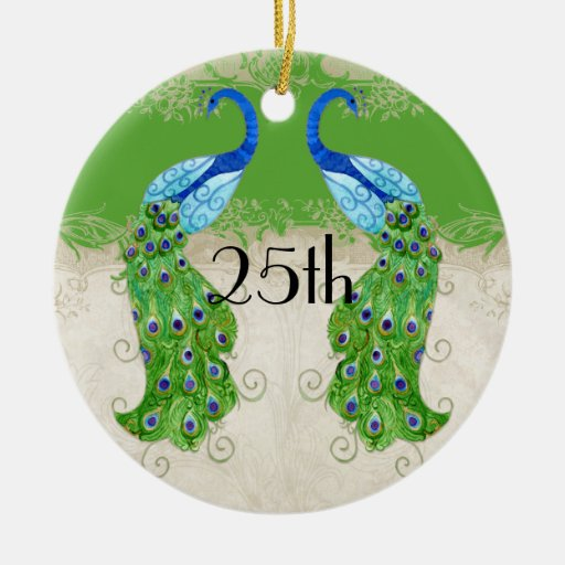 Art Deco Style Peacock Apple Green Vintage Lace Christmas Ornaments
