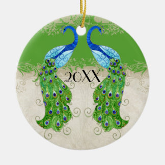 Art Deco Style Peacock Apple Green Vintage Lace Double-Sided Ceramic Round Christmas Ornament