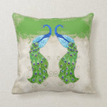 Art Deco Style Peacock Apple Green Vintage Lace Throw Pillow