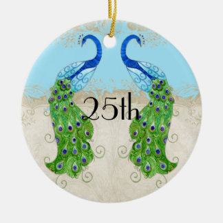 Art Deco Style Peacock Aqua Blue Vintage Lace Ceramic Ornament