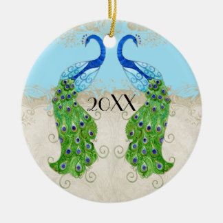 Art Deco Style Peacock Aqua Blue Vintage Lace Double-Sided Ceramic Round Christmas Ornament
