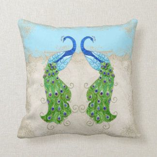 Art Deco Style Peacock Aqua Blue Vintage Lace Throw Pillow