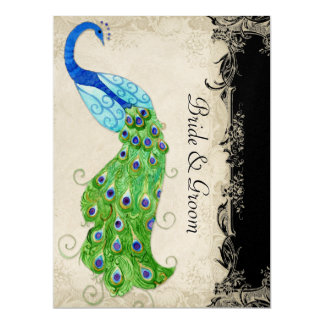 Art Deco Style Peacock Black n Cream Vintage Lace 6.5x8.75 Paper Invitation Card