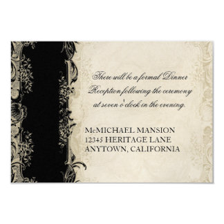 Art Deco Style Peacock Black n Cream Vintage Lace Card