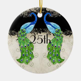 Art Deco Style Peacock Black n Cream Vintage Lace Ceramic Ornament