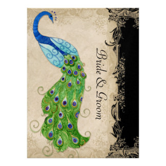 Art Deco Style Peacock Black n Cream Vintage Lace Personalized Invitations