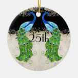 Art Deco Style Peacock Black n Cream Vintage Lace Double-Sided Ceramic Round Christmas Ornament