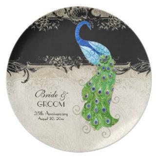 Art Deco Style Peacock Black n Cream Vintage Lace Plate