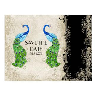 Art Deco Style Peacock Black n Cream  Vintage Lace Postcard