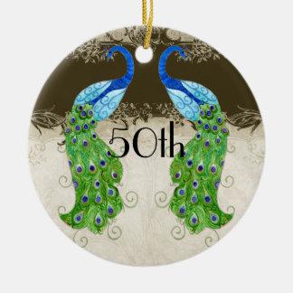 Art Deco Style Peacock Chocolate Vintage Lace Ceramic Ornament