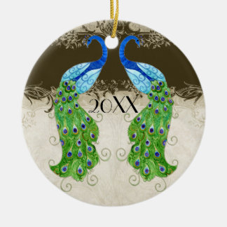 Art Deco Style Peacock Chocolate Vintage Lace Double-Sided Ceramic Round Christmas Ornament