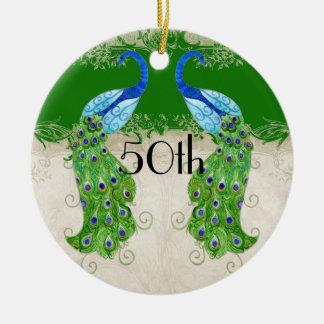 Art Deco Style Peacock Emerald Green Vintage Lace Ceramic Ornament