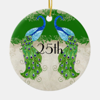 Art Deco Style Peacock Emerald Green Vintage Lace Double-Sided Ceramic Round Christmas Ornament