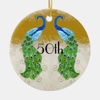 Art Deco Style Peacock Gold Vintage Lace Ceramic Ornament