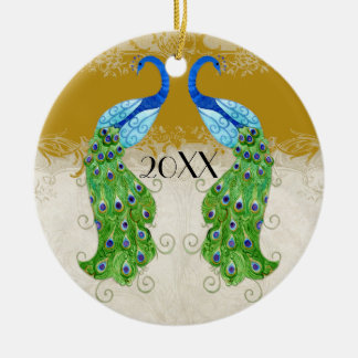 Art Deco Style Peacock Gold Vintage Lace Double-Sided Ceramic Round Christmas Ornament