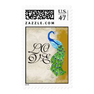 Art Deco Style Peacock Gold Vintage Lace Postage