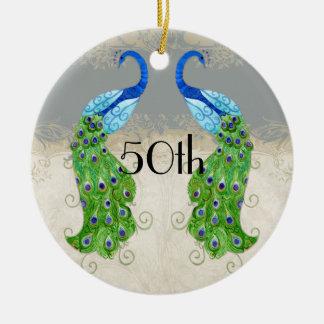 Art Deco Style Peacock Grey Vintage Lace Ceramic Ornament