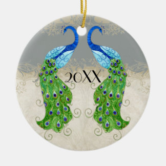 Art Deco Style Peacock Grey Vintage Lace Double-Sided Ceramic Round Christmas Ornament