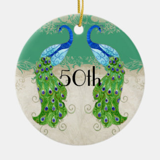 Art Deco Style Peacock Jade Green Vintage Lace Ceramic Ornament