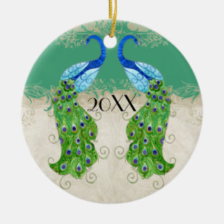 Art Deco Style Peacock Jade Green Vintage Lace Double-Sided Ceramic Round Christmas Ornament