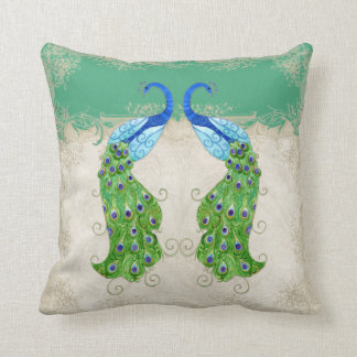 Art Deco Style Peacock Jade Green Vintage Lace Throw Pillow