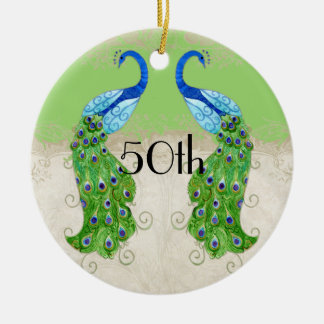 Art Deco Style Peacock Lime Green Vintage Lace Double-Sided Ceramic Round Christmas Ornament