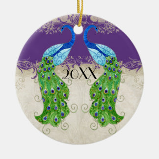 Art Deco Style Peacock Purple n Cream Vintage Lace Ceramic Ornament