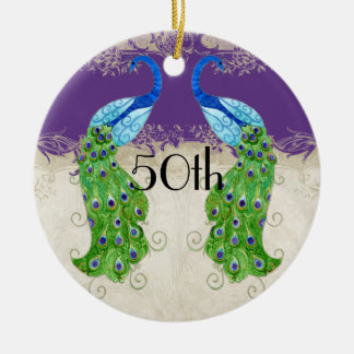 Art Deco Style Peacock Purple n Cream Vintage Lace Double-Sided Ceramic Round Christmas Ornament