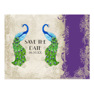 Art Deco Style Peacock Purple n Cream Vintage Lace Postcard